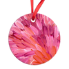 Pink Leaves Round Ornament-by-Desert Doll Designs-Ornament-at-Utopia-Lane-Gallery #AboriginalArt #Desert Doll Designs