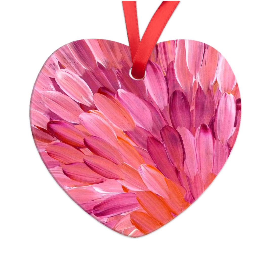 Pink Leaves Heart Ornament-by-Desert Doll Designs-Ornament-at-Utopia-Lane-Gallery #AboriginalArt #Desert Doll Designs