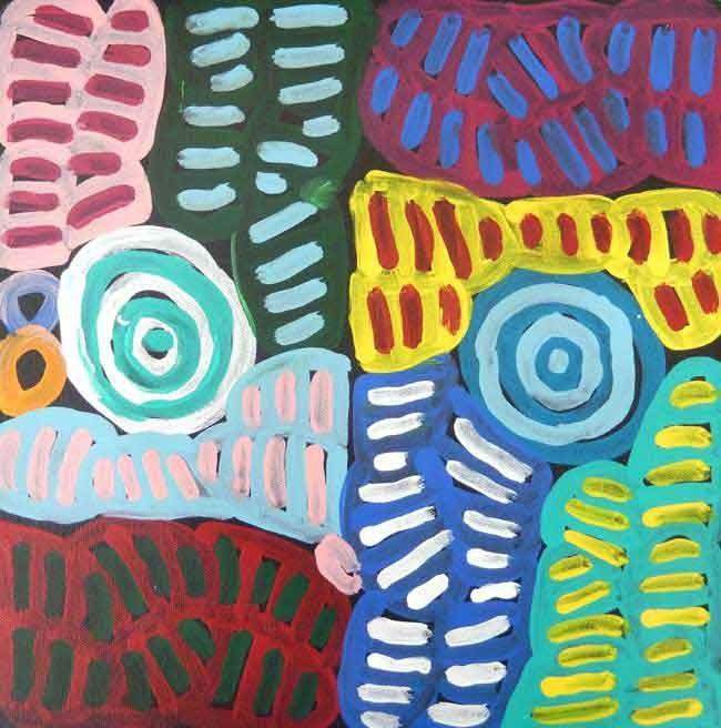 My Mother's Country by Betty Mbitjana, 30cm x 30cm. Aboriginal Painting. #AboriginalArt #UtopiaLane