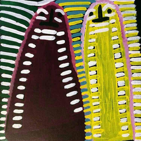 "Aboriginal painting by Angelina Ngale titled ""Atham-areny Story"". Learn more. www.utopialaneart.com.au  #aboriginalart #utopialaneart #angelinangale"