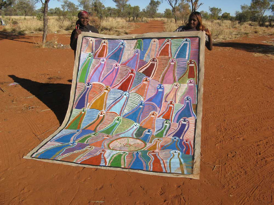 Atham-areny Story by Angelina Ngale (Pwerle) by Angelina Ngale (Pwerle), 240cm x 180cm. Australian Aboriginal Art.