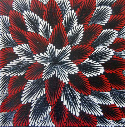 Tharrkarr (Honey Grevillea) by Vanessa Jones Petyarr (SOLD), 15cm x 15cm. Aboriginal Painting. #AboriginalArt #UtopiaLane