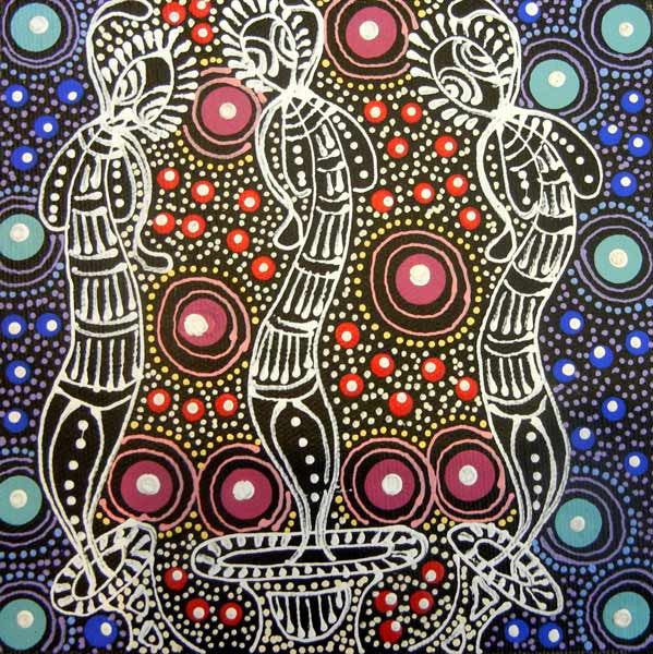 Dreamtime Sisters by Colleen Wallace Nungari  (SOLD). Shop from Utopia Lane Art #AboriginalArt