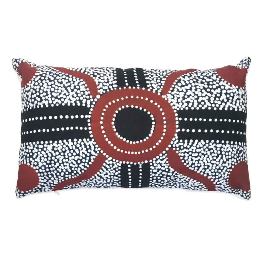 Charcoal Lindsay Lumbar Cushion-by-Desert Doll Designs-Cushion Cover-at-Utopia-Lane-Gallery #AboriginalArt #Desert Doll Designs