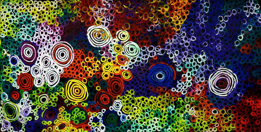 Big Bush Melon Dreaming by Minnie Pwerle by Minnie Pwerle, 360cm x 180cm. Australian Aboriginal Art.