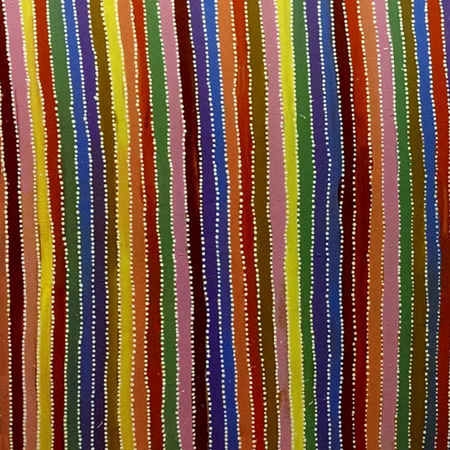 Aboriginal dot painting by Greeny Purvis Petyarre. Learn more at Utopia Lane.