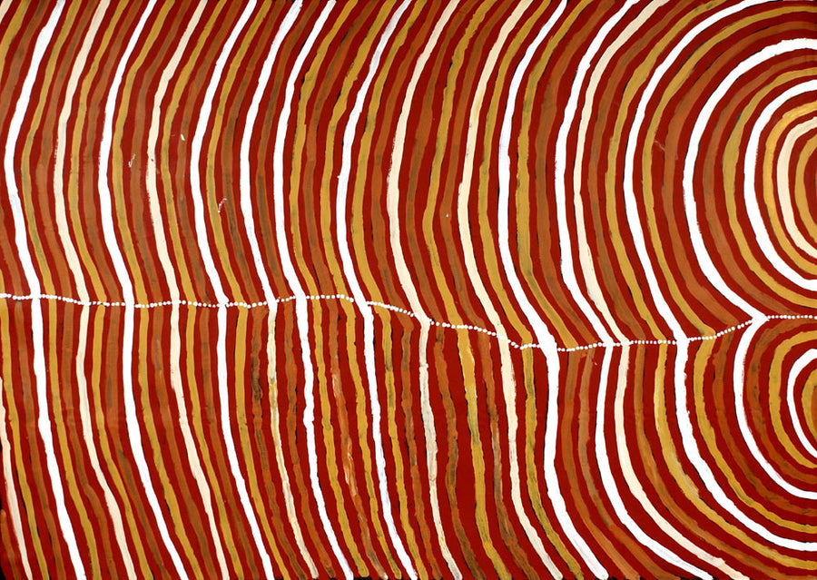 Body Paint by Lena Pwerle, 210cm x 150cm. Aboriginal Painting. #AboriginalArt #UtopiaLane