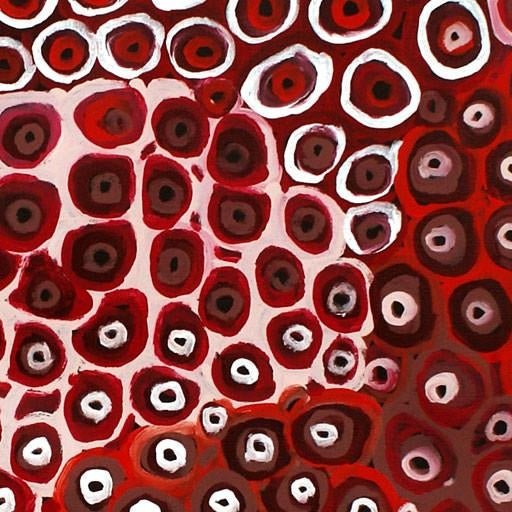 A unique and spirited piece in napthol crimson, cadmium red and white. Shades of burnt umber cools and grounds. Perfectly suited for a neutral environment. Red and brown painting. #aboriginalart #waterholes #lenapwerle