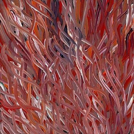 This painting represents Grass Seed Dreaming painted by Barbara Weir of Utopia. #aboriginalart #utopialaneart #barbaraweir