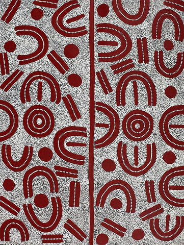 Aboriginal dot painting by Lindsay Bird Mpetyane. Learn more.