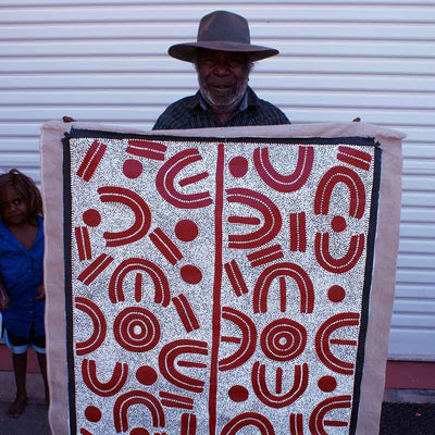 Bush Plum Dreaming by Lindsay Bird by Lindsay Bird Mpetyane, 120cm x 90cm. Australian Aboriginal Art.