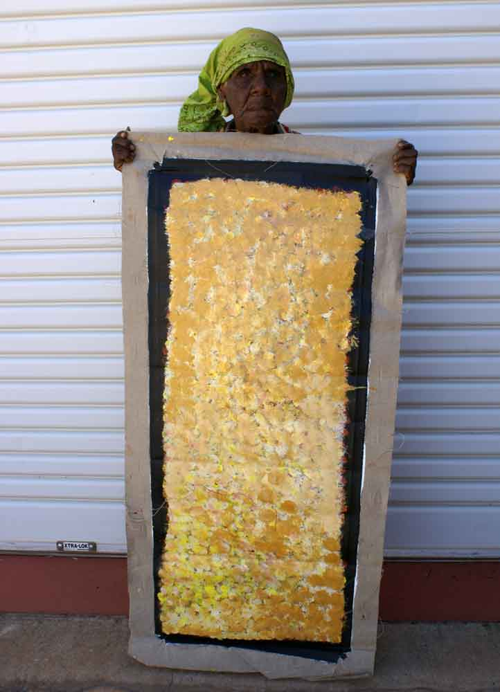 Anwekety (Conkerberry) by Polly Ngale by Polly Ngale, 90cm x 30cm. Australian Aboriginal Art.