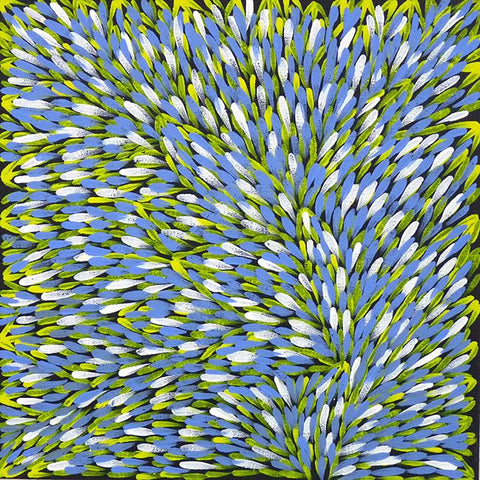 "Aboriginal painting by Gloria Petyarre: ""Leaves"". Learn more. www.utopialaneart.com.au  #aboriginalart #utopialaneart #gloriapetyarre"