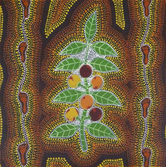 Women Collecting Bush Tucker (Wild Figs) by Marie Ryder (SOLD), 45cm x 45cm. Aboriginal Painting. #AboriginalArt #UtopiaLane