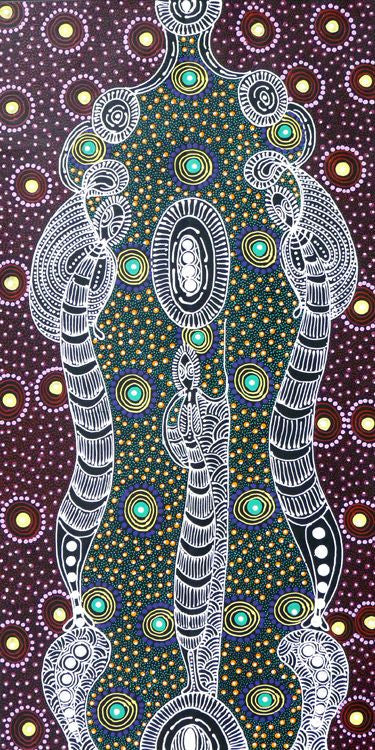 Dreamtime Sisters by Colleen Wallace Nungari (SOLD), 90cm x 45cm. Aboriginal Painting. #AboriginalArt #UtopiaLane