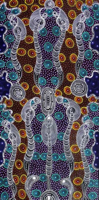 Dreamtime Sisters by Colleen Wallace Nungari (SOLD), 120cm x 60cm. Aboriginal Painting. #AboriginalArt #UtopiaLane