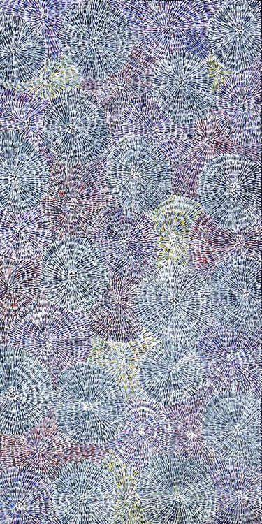 "Aboriginal painting by Audrey Morton Kngwarreye: ""Ilyarnayt Flower"". Learn more. www.utopialaneart.com.au  #aboriginalart #utopialaneart"