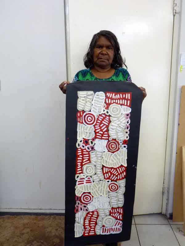 My Mother's Country by Betty Mbitjana, 90cm x 30cm. Aboriginal Painting. #AboriginalArt #UtopiaLane