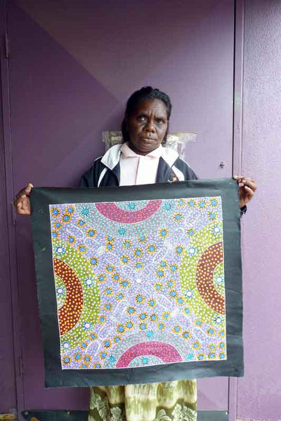 Alpar Seed Story by Maggie Bird (SOLD)-by-Maggie Bird Mpetyane-60cm x 60cm-at-Utopia-Lane-Gallery #AboriginalArt #Maggie Bird Mpetyane