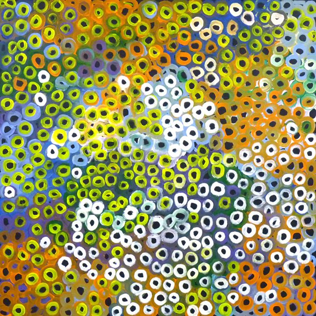 Soakage by Lena Pwerle-by-Lena Pwerle-120cm x 120cm-at-Utopia-Lane-Gallery #AboriginalArt #Lena Pwerle