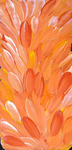 This happy orange and yellow painting represents leaves, some of which have medicinal qualities. This style by Gloria Petyarre won her the acclaimed Wynne Prize in 1999. #gloriapetyarre