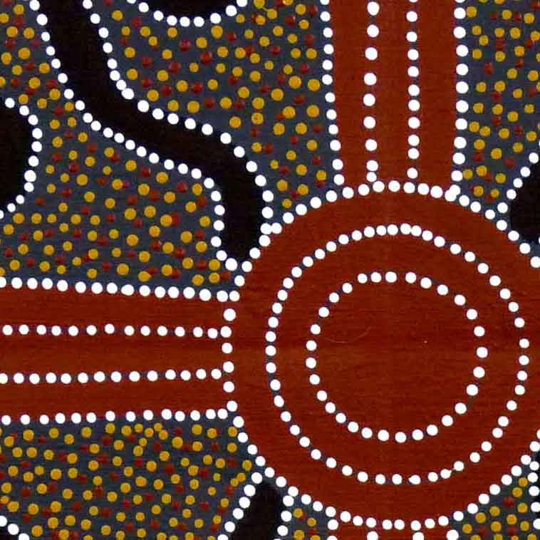 Bush Plum Dreaming by Lindsay Bird by Lindsay Bird Mpetyane, 45cm x 45cm. Australian Aboriginal Art.
