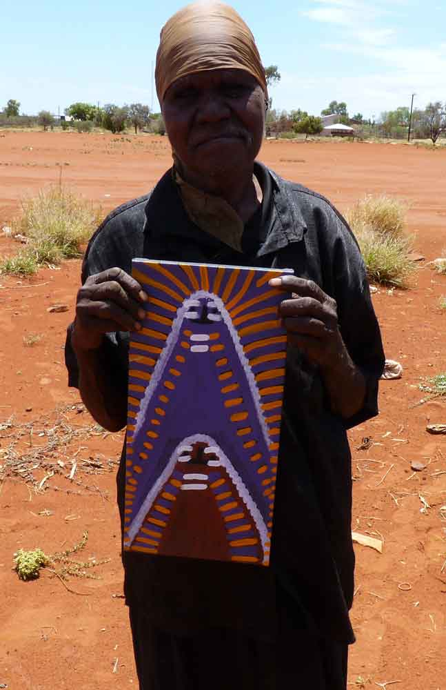 Atham-areny Story by Angelina Ngale-by-Angelina Ngale (Pwerle)-40cm x 20cm-at-Utopia-Lane-Gallery #AboriginalArt #Angelina Ngale (Pwerle)