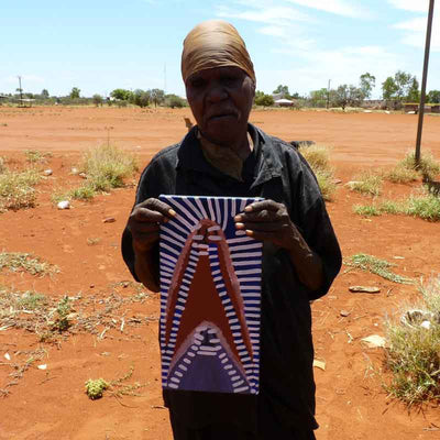 Atham-areny Story by Angelina Ngale by Angelina Ngale (Pwerle), 40cm x 20cm. Australian Aboriginal Art.