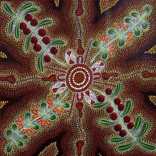 Women Picking Bush Tucker (Mistletoe), 45cm x 45cm. Aboriginal Painting. #AboriginalArt #UtopiaLane