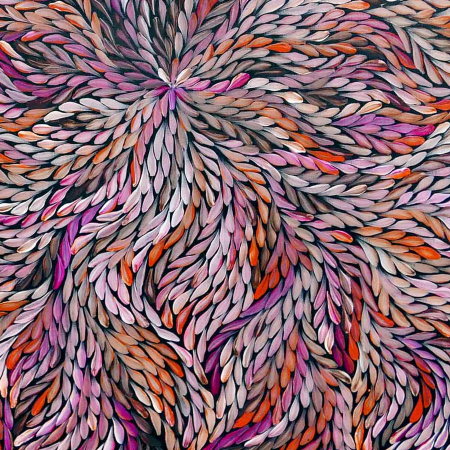Pencil Yam by Delvine Petyarre-by-Delvine Petyarre-60cm x 60cm-at-Utopia-Lane-Gallery #AboriginalArt #Delvine Petyarre