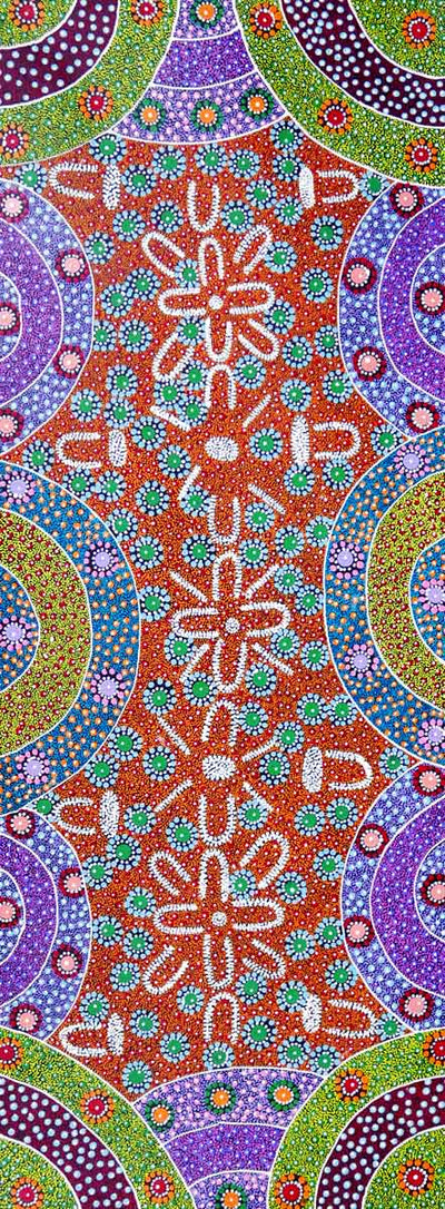 Alpar Seed Story by Maggie Bird (SOLD)-by-Maggie Bird Mpetyane-120cm x 45cm-at-Utopia-Lane-Gallery #AboriginalArt #Maggie Bird Mpetyane
