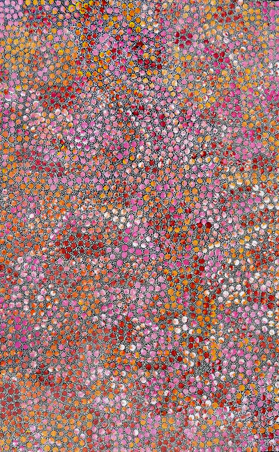 Pencil Yam Seed by Eileen Bird (SOLD)-by-Eileen Bird Nungarai-90cm x 60cm-at-Utopia-Lane-Gallery #AboriginalArt #Eileen Bird Nungarai