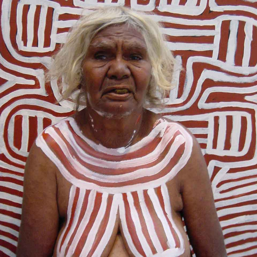 Body Paint Designs by Queenie Lion Kemarre by Queenie Lion Kemarre, 90cm x 90cm. Australian Aboriginal Art.