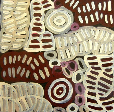 My Mother's Country by Betty Mbitjana (SOLD), 30cm x 30cm. Aboriginal Painting. #AboriginalArt #UtopiaLane