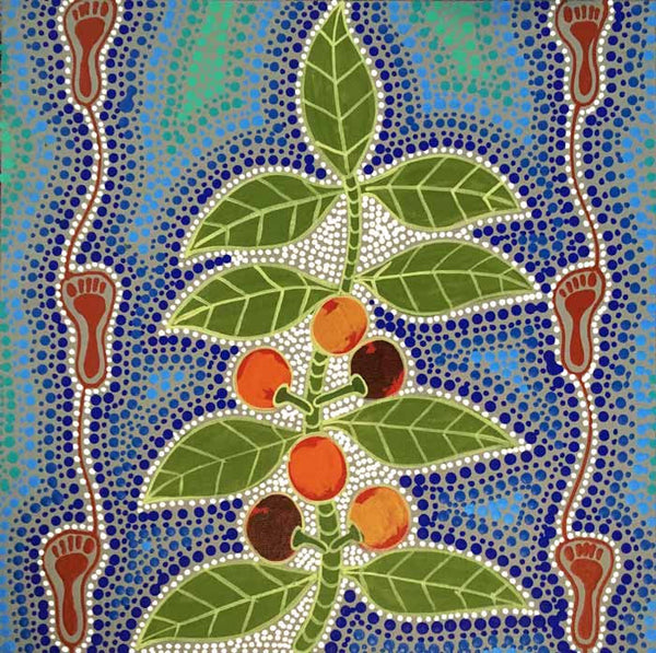 Women Collecting Bush Tucker (Wild Figs) by Marie Ryder (SOLD). Shop from Utopia Lane Art #AboriginalArt