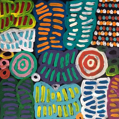 "Aboriginal painting by Betty Mbitjana: ""My Mother's Story"" Learn more.  www.utopialaneart.com.au  #aboriginalart #utopialaneart #bettymbitjana"