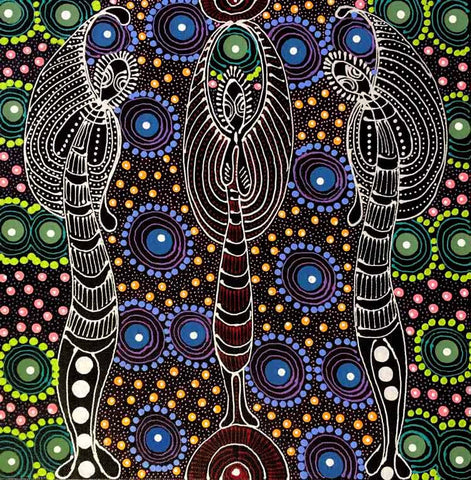 "Aboriginal painting by Colleen Wallace Nungari titled ""Dreamtime Sisters"". Learn more at www.utopialaneart.com.au  #aboriginalart #utopialaneart  #dotpainting"