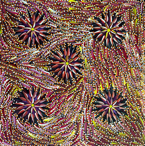 "Aboriginal painting by Violet Payne Ngale titled ""Wild Tobacco"". Learn more at www.utopialaneart.com.au  #aboriginalart #utopialaneart  #dotpainting"