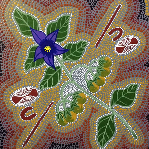 Aboriginal art by Marie Ryder representing Bush Tucker. Learn more. www.utopialaneart.com.au  #aboriginalart #utopialaneart #bushtucker