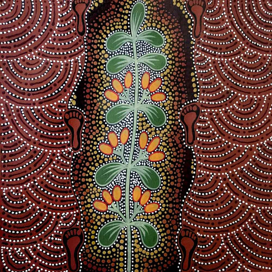 Women Picking Bush Tucker (Mistletoe) by Marie Ryder, 30cm x 30cm. Australian Aboriginal Art.