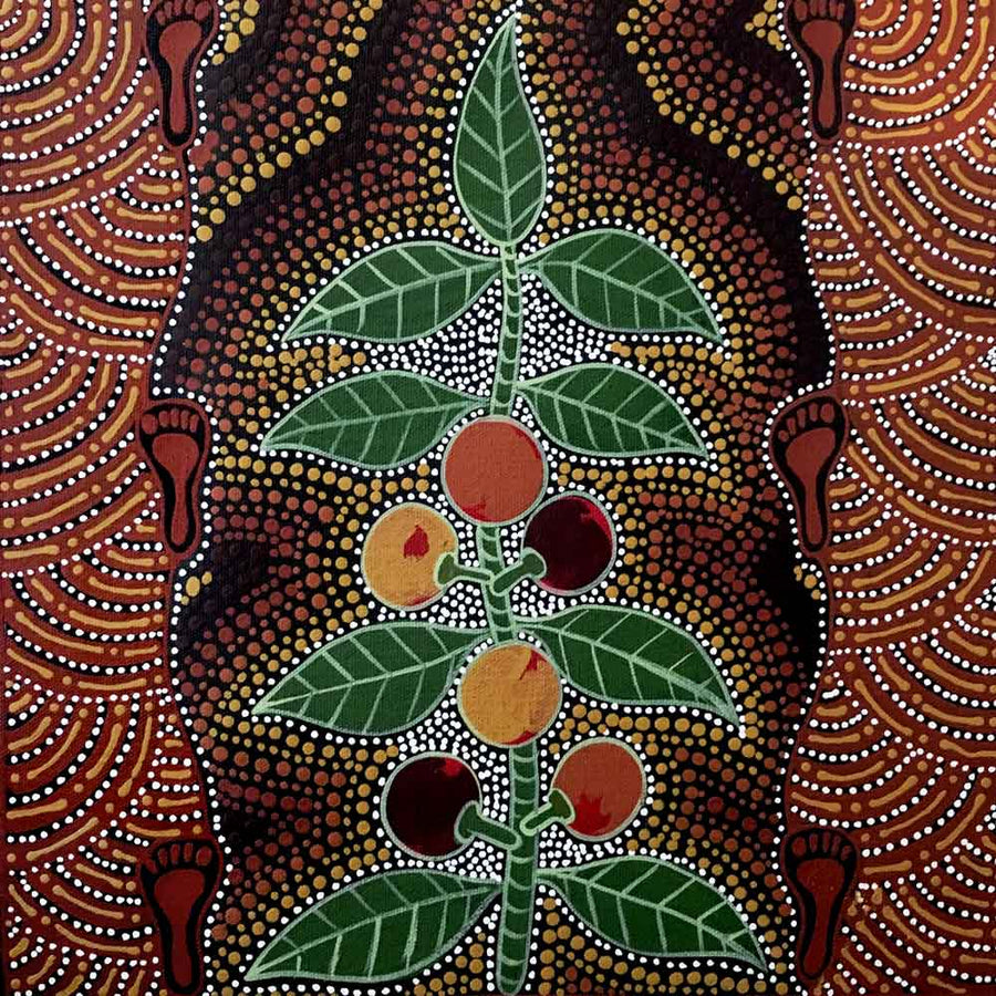 Women Collecting Bush Tucker (Wild Fig) by Marie Ryder, 30cm x 30cm. Australian Aboriginal Art.
