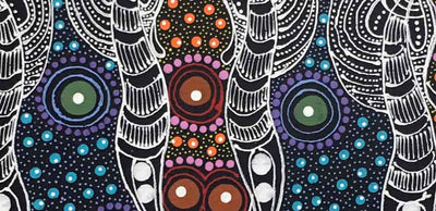 Dreamtime Sisters by Colleen Wallace Nungari by Colleen Wallace Nungari, 40cm x 20cm. Australian Aboriginal Art.