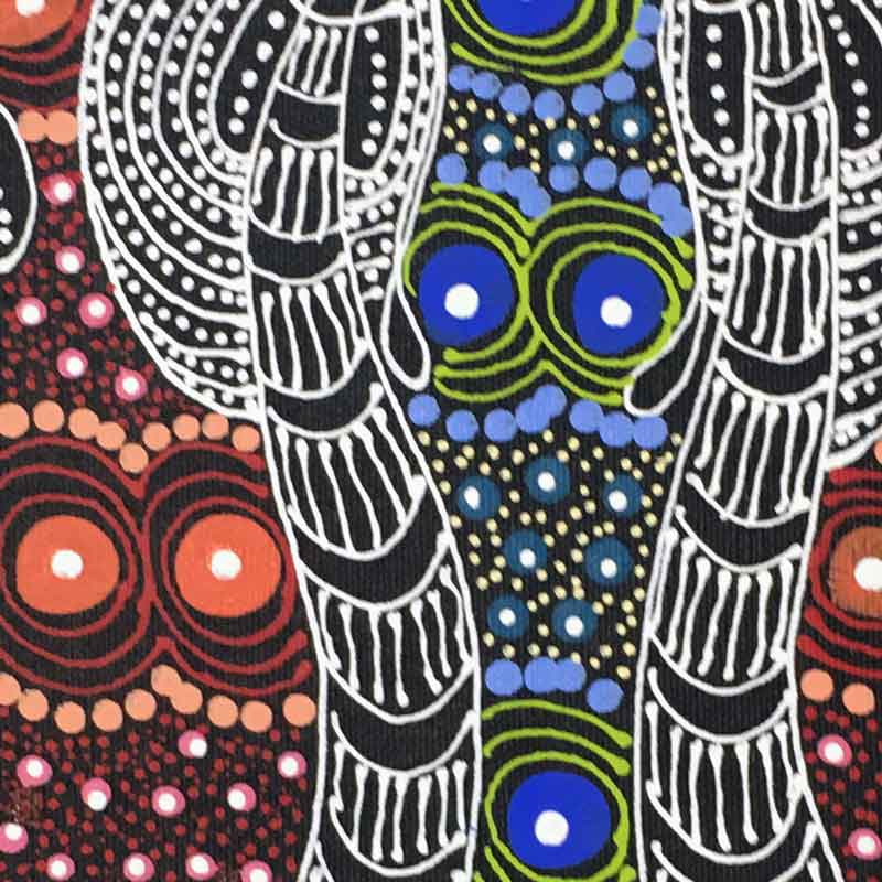 Dreamtime Sisters by Colleen Wallace Nungari by Colleen Wallace Nungari, 30cm x 30cm. Australian Aboriginal Art.