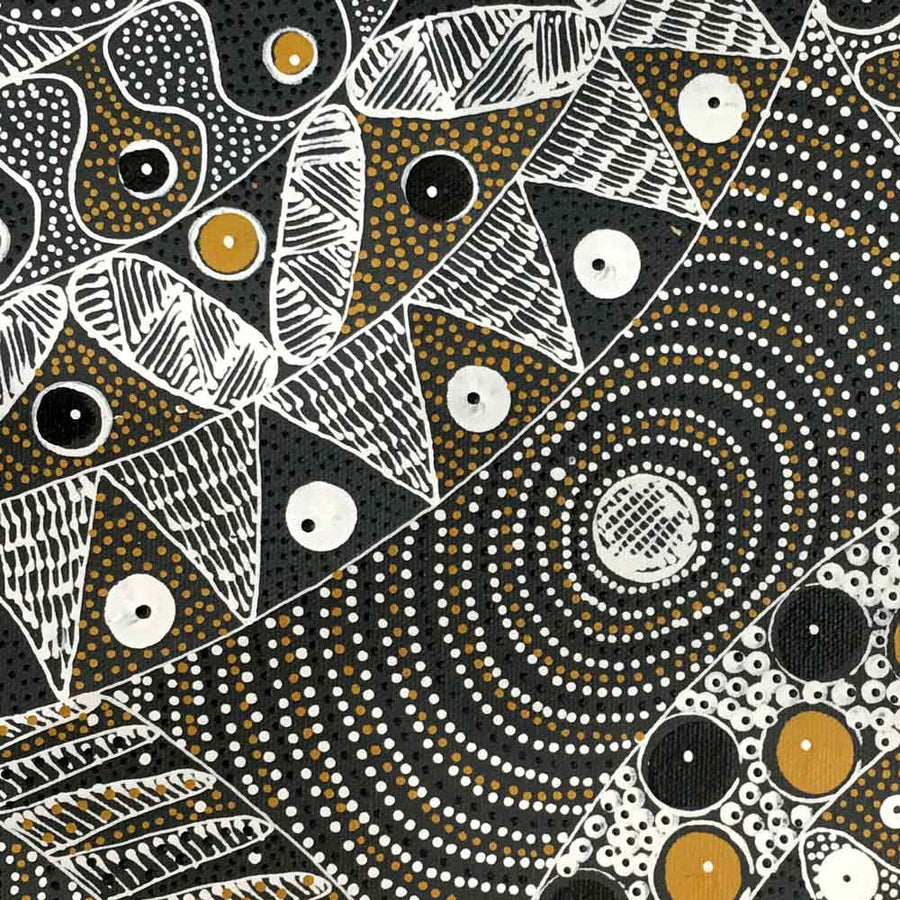 Awelye for Alpar Seed, Bush Plum & Mulga Seed by Alvira Bird-by-Alvira Bird Mpetyane-30cm x 30cm-at-Utopia-Lane-Gallery #AboriginalArt #Alvira Bird Mpetyane