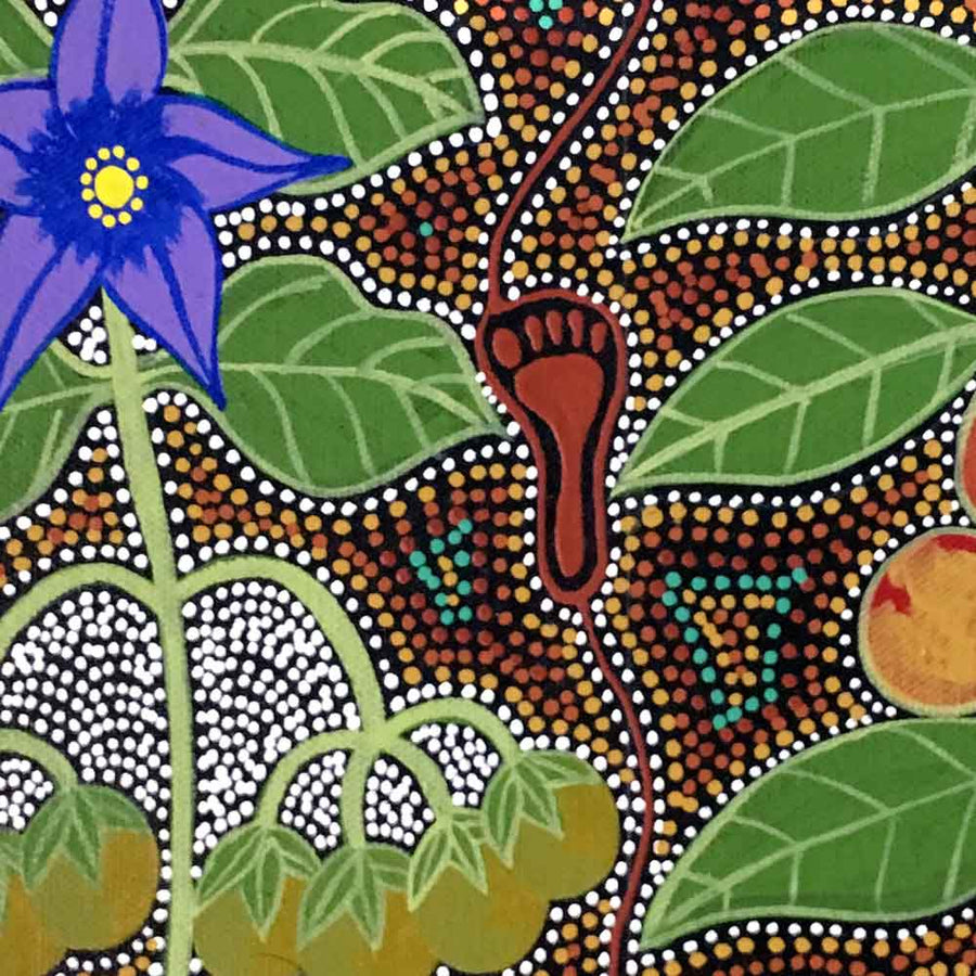 Women Collecting Bush Tucker (Wild Fig and Tomato) by Marie Ryder, 30cm x 30cm. Australian Aboriginal Art.
