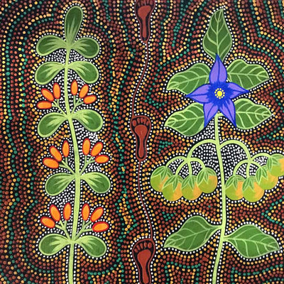 Women Collecting Bush Tucker (Mistletoe and Tomato) (SOLD)-by-Marie Ryder-30cm x 30cm-at-Utopia-Lane-Gallery #AboriginalArt #Marie Ryder