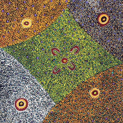 Ntyemeny (Berries) by Maureen Dixon by Maureen Dixon, 30cm x 30cm. Australian Aboriginal Art.