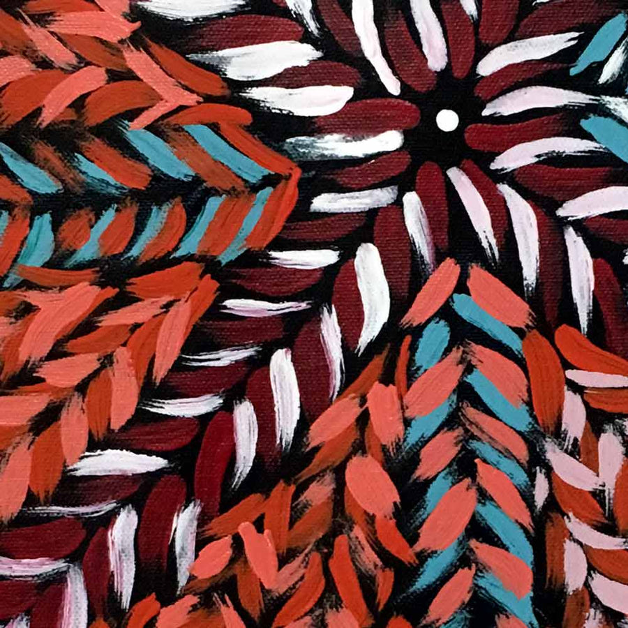 Bush Medicine by Isobel Okai-by-Isobel Okai-30cm x 30cm-at-Utopia-Lane-Gallery #AboriginalArt #Isobel Okai