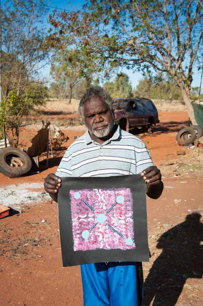 Men's Story by Andy Mpetyane by Andy Mpetyane, 30cm x 30cm. Australian Aboriginal Art.
