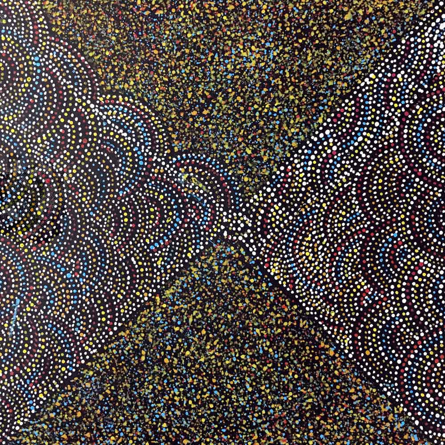 Bush Turkey Story by Cowboy Loy-by-Cowboy Loy Pwerle-30cm x 30cm-at-Utopia-Lane-Gallery #AboriginalArt #Cowboy Loy Pwerle
